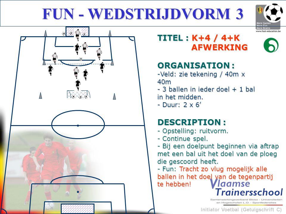 Initiator Voetbal (Getuigschrift C) FUN - WEDSTRIJDVORM 3 DESCRIPTION : - Opstelling: ruitvorm. - Continue spel. - Bij een doelpunt beginnen via aftra