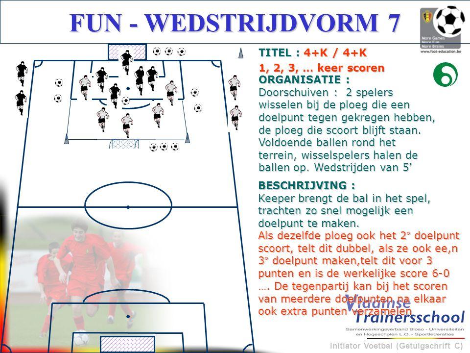 Initiator Voetbal (Getuigschrift C) FUN - WEDSTRIJDVORM 7 BESCHRIJVING : Keeper brengt de bal in het spel, trachten zo snel mogelijk een doelpunt te m