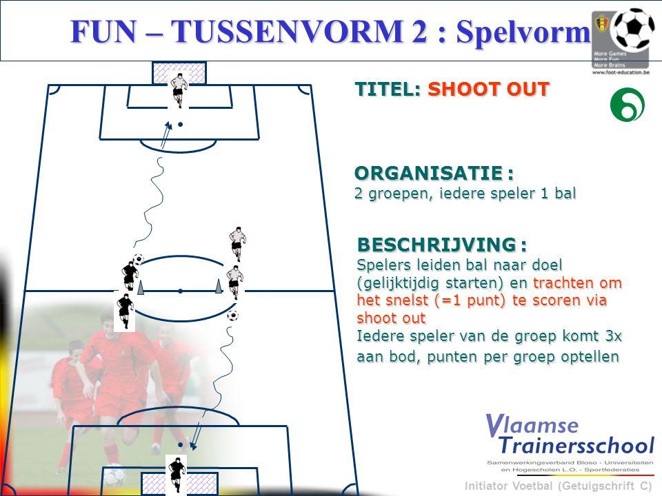 Initiator Voetbal (Getuigschrift C) BESCHRIJVING : Spelers leiden bal naar doel (gelijktijdig starten) en trachten om het snelst (=1 punt) te scoren v