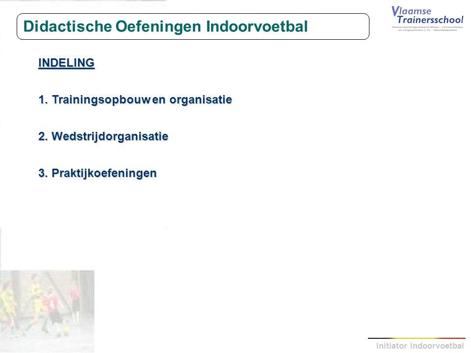 Initiator Indoorvoetbal Didactische Oefeningen Indoorvoetbal INDELING 1.