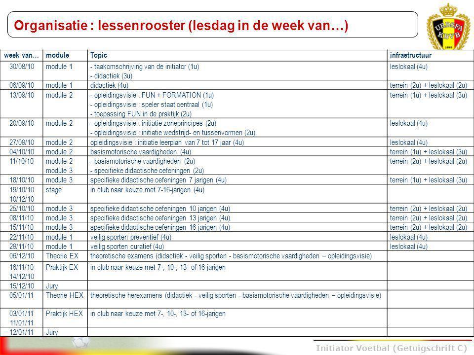 Trainer B voetbal – UEFA B Initiator Voetbal (Getuigschrift C) Organisatie : lessenrooster (lesdag in de week van…) week van…moduleTopicinfrastructuur