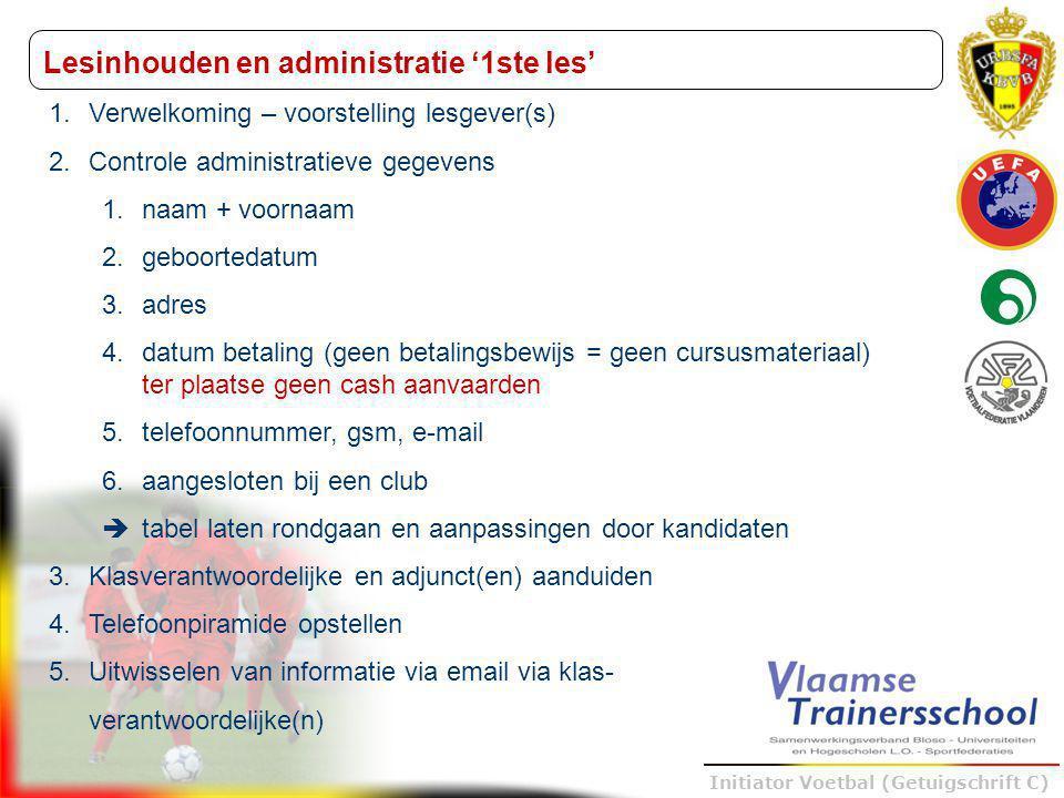 Trainer B voetbal – UEFA B Initiator Voetbal (Getuigschrift C) Lesinhouden en administratie '1ste les' 1.Verwelkoming – voorstelling lesgever(s) 2.Con