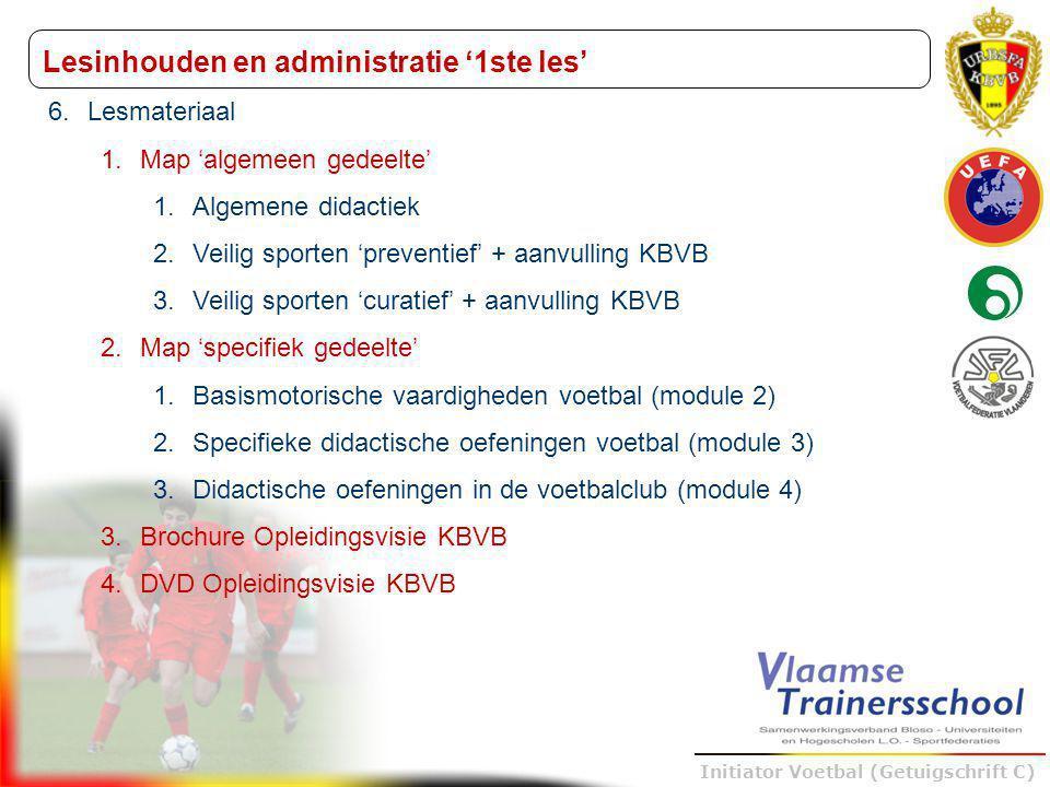 Trainer B voetbal – UEFA B Initiator Voetbal (Getuigschrift C) 6.Lesmateriaal 1.Map 'algemeen gedeelte' 1.Algemene didactiek 2.Veilig sporten 'prevent