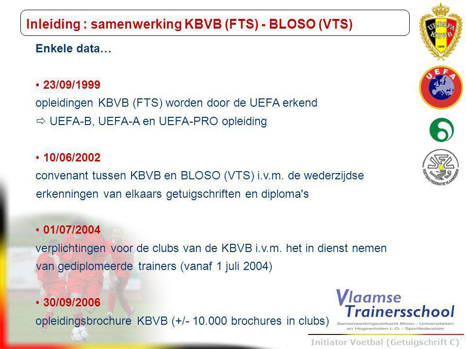Trainer B voetbal – UEFA B Initiator Voetbal (Getuigschrift C) Inleiding : samenwerking KBVB (FTS) - BLOSO (VTS) 11/09/07 nieuw convenant tussen KBVB en BLOSO (VTS) - opleiding initiator (getuigschrift C) - vanaf januari 2008 door FTS (KBVB) en VTS (BLOSO) samen Basisopleiding van 56 uur -vorige basisopleidingen : 40u (KBVB) - 68u (VTS) -veilig sporten als extra module voor KBVB -doelverdediger en indoor voetbal als weggelaten modules voor VTS + intentieverklaring om ook de andere opleidingen samen te organiseren bij positieve evaluatie => convenant 2009 2010-2011 een gekwalificeerde trainer voor iedere Belgische jeugdploeg  2000 jeugdtrainers/jaar dienen de komende 3 jaar gevormd worden  september 2010 : 6de reeks Initiator Voetbal (Getuigschrift C)