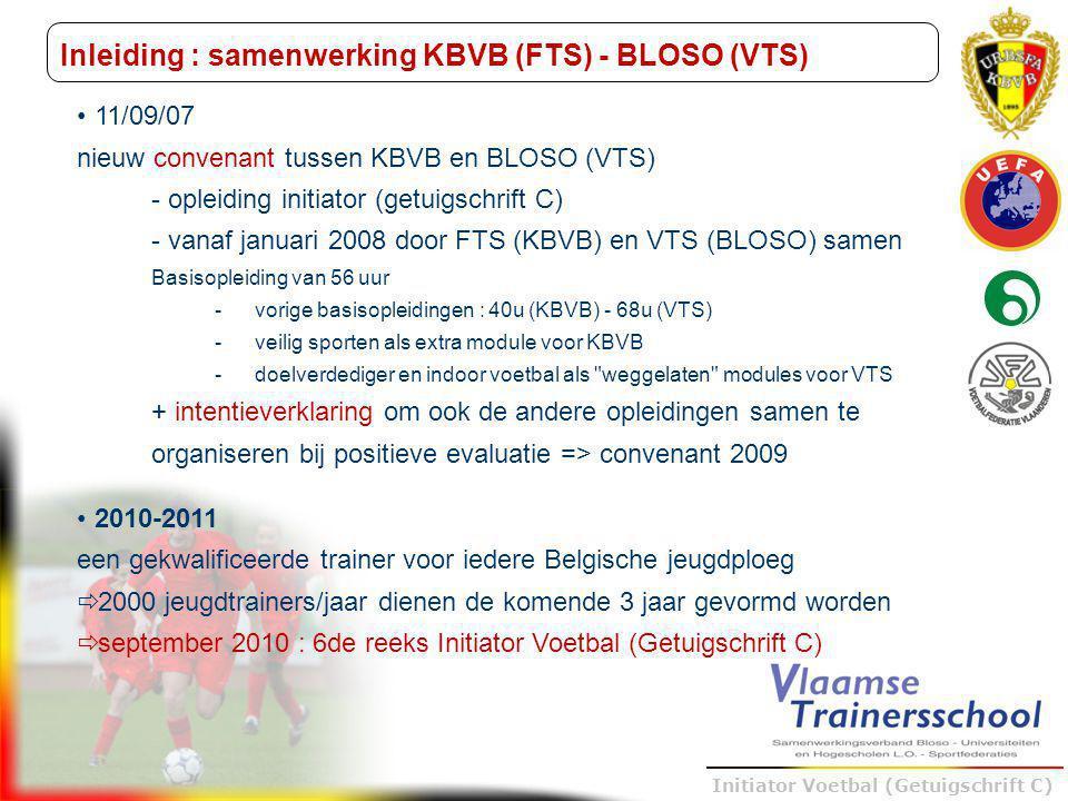 Trainer B voetbal – UEFA B Initiator Voetbal (Getuigschrift C) Inleiding : samenwerking KBVB (FTS) - BLOSO (VTS) 11/09/07 nieuw convenant tussen KBVB