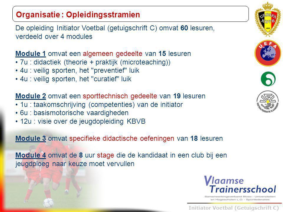 Trainer B voetbal – UEFA B Initiator Voetbal (Getuigschrift C) Organisatie : evaluatie Initiator Voetbal (getuigschrift C) Indien de kandidaat voldoet aan de toelatingsvoorwaarden (17 jaar) en aanwezig is op minstens 80% van de voorziene lessen, zal hij als volgt beoordeeld worden : 5 schriftelijke examens Module 1 : algemene didactiek (open vragen) Module 1 : veilig sporten preventief (open vragen) Module 1 : veilig sporten curatief (open vragen) Module 2 : basismotorische vaardigheden (open vragen) Module 2 : opleidingsvisie KBVB (multiple-choice)