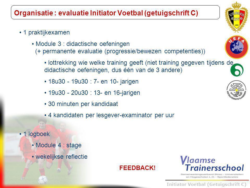 Trainer B voetbal – UEFA B Initiator Voetbal (Getuigschrift C) Organisatie : evaluatie Initiator Voetbal (getuigschrift C) 1 praktijkexamen Module 3 :