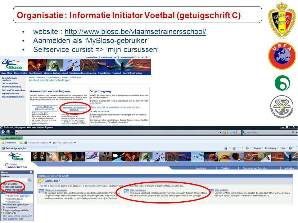 Trainer B voetbal – UEFA B Initiator Voetbal (Getuigschrift C) Organisatie : Informatie Initiator Voetbal (getuigschrift C) website : http://www.bloso