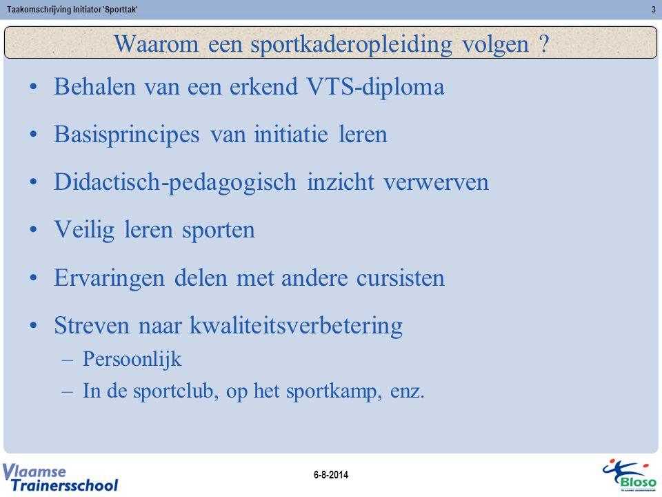 6-8-2014 Taakomschrijving Initiator Sporttak 14 Examenreglement 2008 www.bloso.be/public/trainer/vtsdigitaal/reglement.asp Scoresysteem: A – B – C – D Wijze van examineren: schriftelijk/mondeling, theorie/praktijk, evaluatiecriteria Attitude speelt een belangrijke rol Wijze van delibereren: Het vak didactiek is niet delibereerbaar Resultaatmelding: door VTS-secretariaat