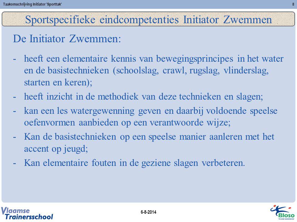 6-8-2014 Taakomschrijving Initiator 'Sporttak'8 Sportspecifieke eindcompetenties Initiator Zwemmen De Initiator Zwemmen: -heeft een elementaire kennis