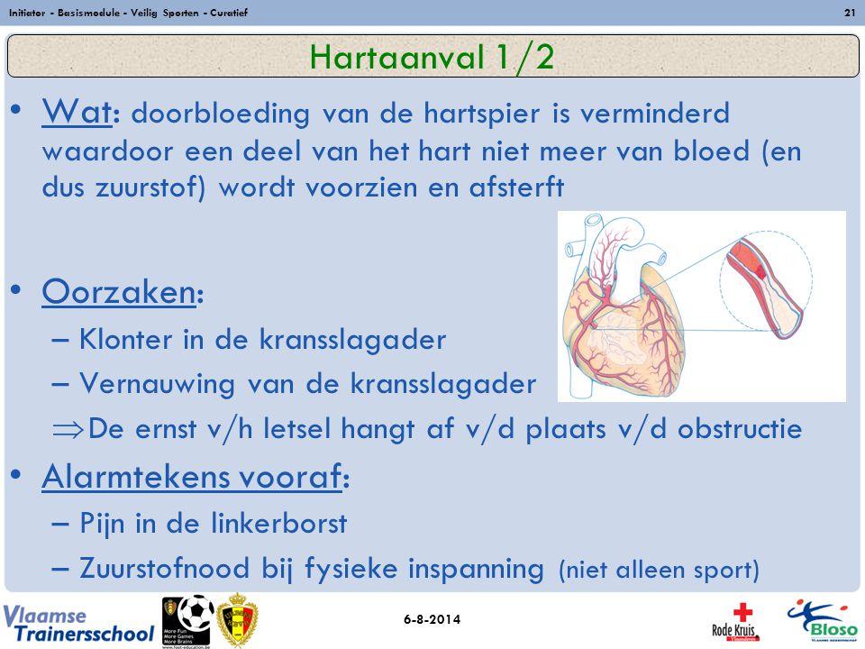 6-8-2014 Initiator - Basismodule - Veilig Sporten - Curatief21 Wat: doorbloeding van de hartspier is verminderd waardoor een deel van het hart niet me