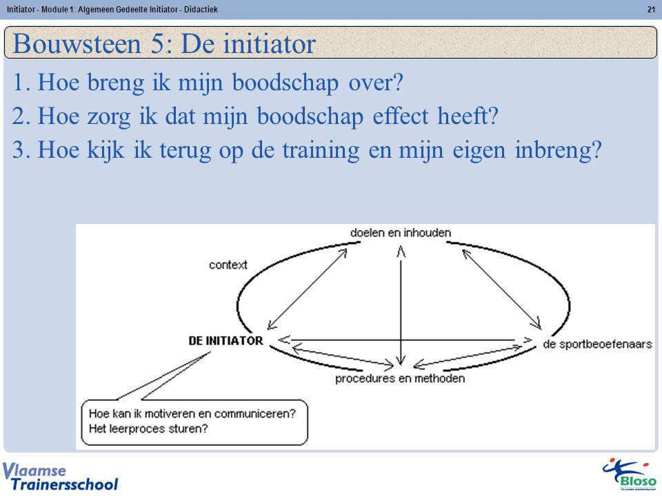 Initiator - Module 1: Algemeen Gedeelte Initiator - Didactiek21 Bouwsteen 5: De initiator 1. Hoe breng ik mijn boodschap over? 2. Hoe zorg ik dat mijn
