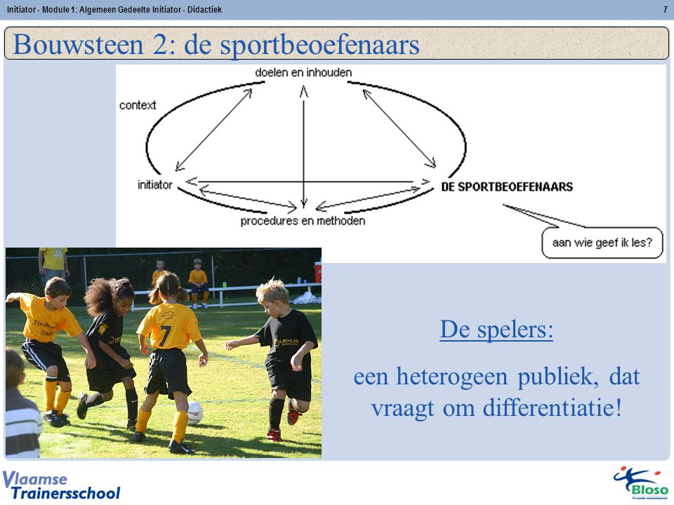 Initiator - Module 1: Algemeen Gedeelte Initiator - Didactiek7 Bouwsteen 2: de sportbeoefenaars De spelers: een heterogeen publiek, dat vraagt om diff