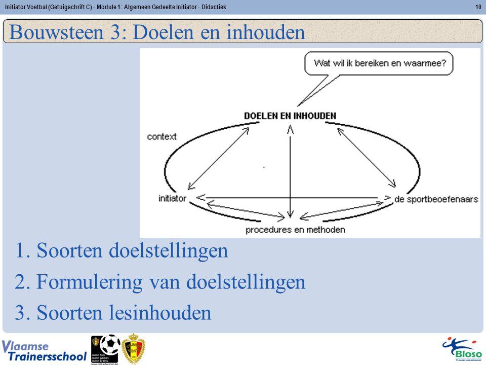 Initiator Voetbal (Getuigschrift C) - Module 1: Algemeen Gedeelte Initiator - Didactiek10 Bouwsteen 3: Doelen en inhouden 1. Soorten doelstellingen 2.