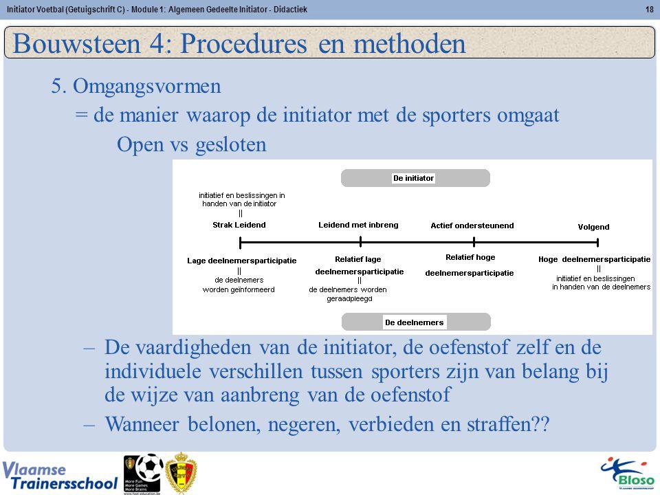 Initiator Voetbal (Getuigschrift C) - Module 1: Algemeen Gedeelte Initiator - Didactiek18 Bouwsteen 4: Procedures en methoden 5. Omgangsvormen = de ma