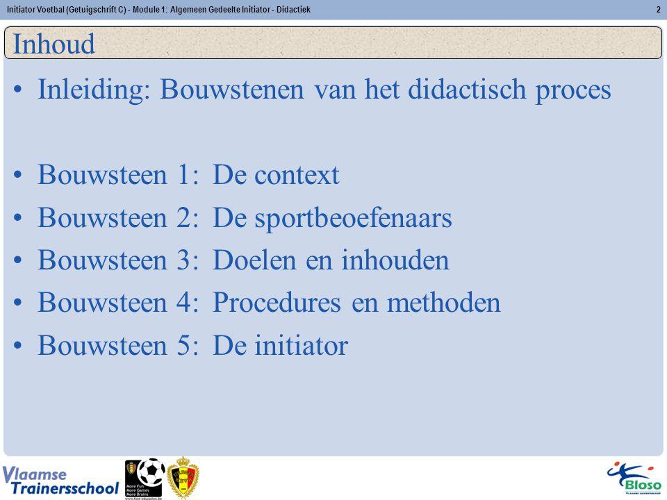 Initiator Voetbal (Getuigschrift C) - Module 1: Algemeen Gedeelte Initiator - Didactiek2 Inhoud Inleiding: Bouwstenen van het didactisch proces Bouwst