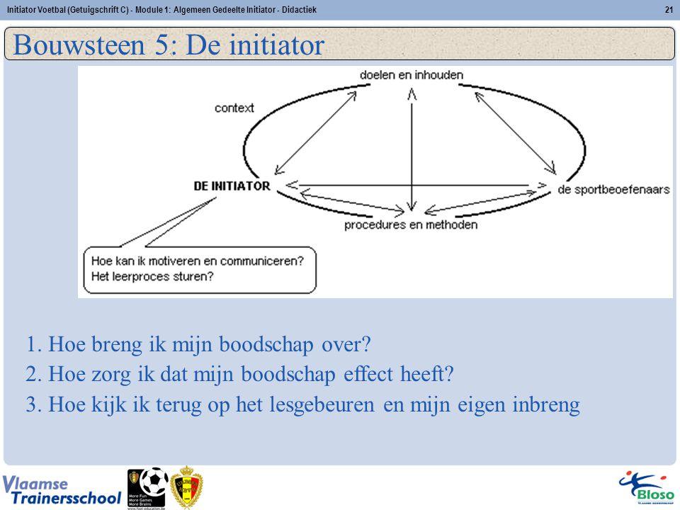 Initiator Voetbal (Getuigschrift C) - Module 1: Algemeen Gedeelte Initiator - Didactiek21 Bouwsteen 5: De initiator 1. Hoe breng ik mijn boodschap ove