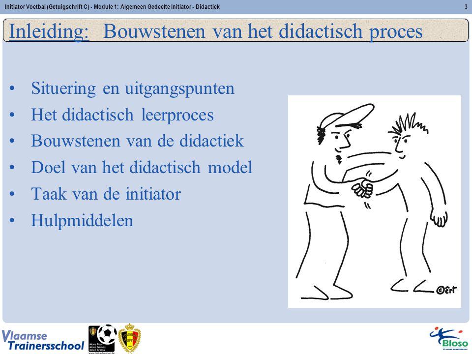 Initiator Voetbal (Getuigschrift C) - Module 1: Algemeen Gedeelte Initiator - Didactiek3 Inleiding: Bouwstenen van het didactisch proces Situering en