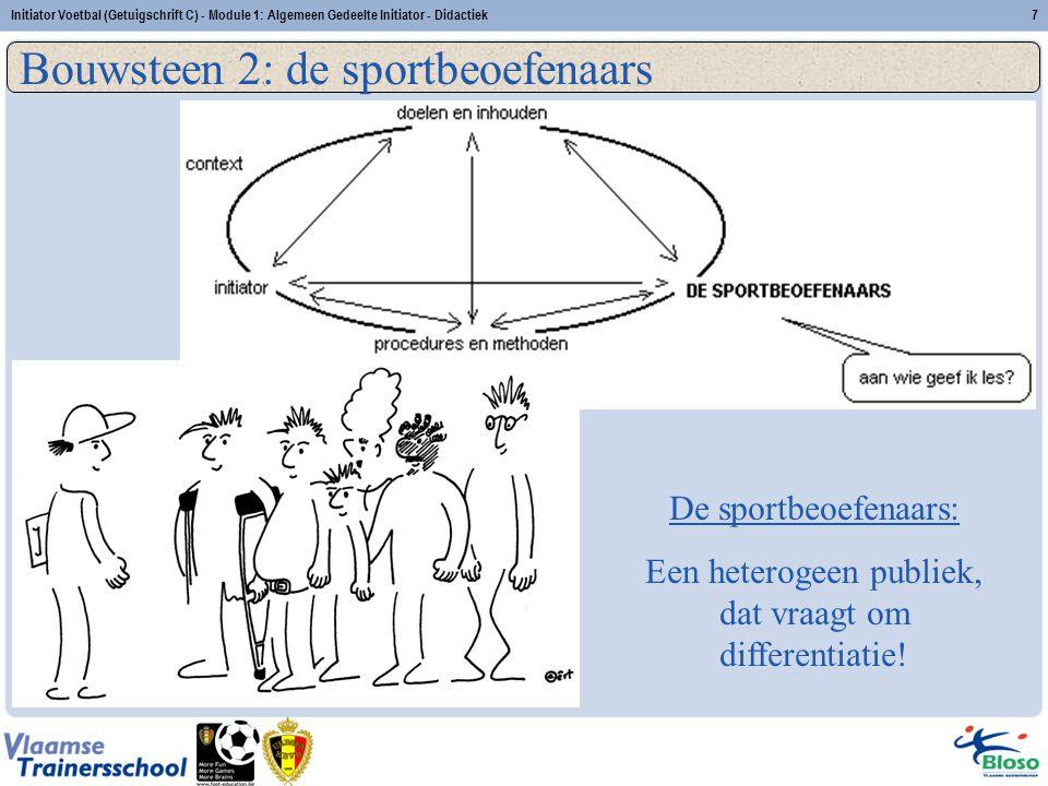 Initiator Voetbal (Getuigschrift C) - Module 1: Algemeen Gedeelte Initiator - Didactiek7 Bouwsteen 2: de sportbeoefenaars De sportbeoefenaars: Een het