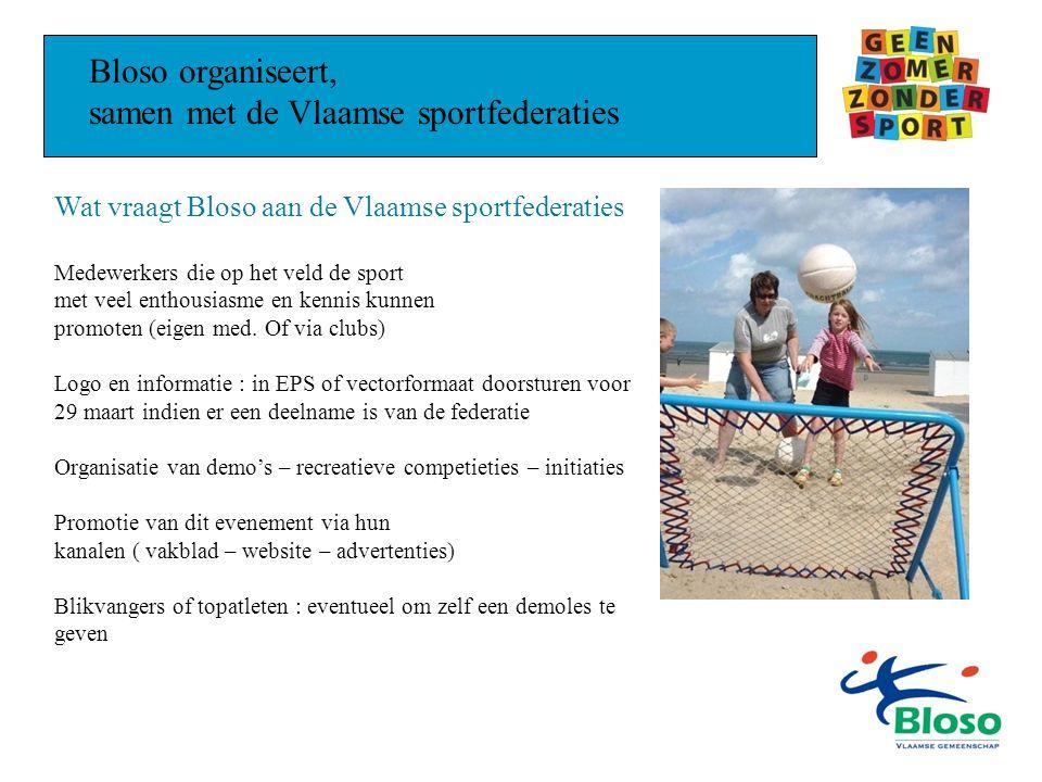 Bloso organiseert, samen met de Vlaamse sportfederaties Wat vraagt Bloso aan de Vlaamse sportfederaties Medewerkers die op het veld de sport met veel enthousiasme en kennis kunnen promoten (eigen med.