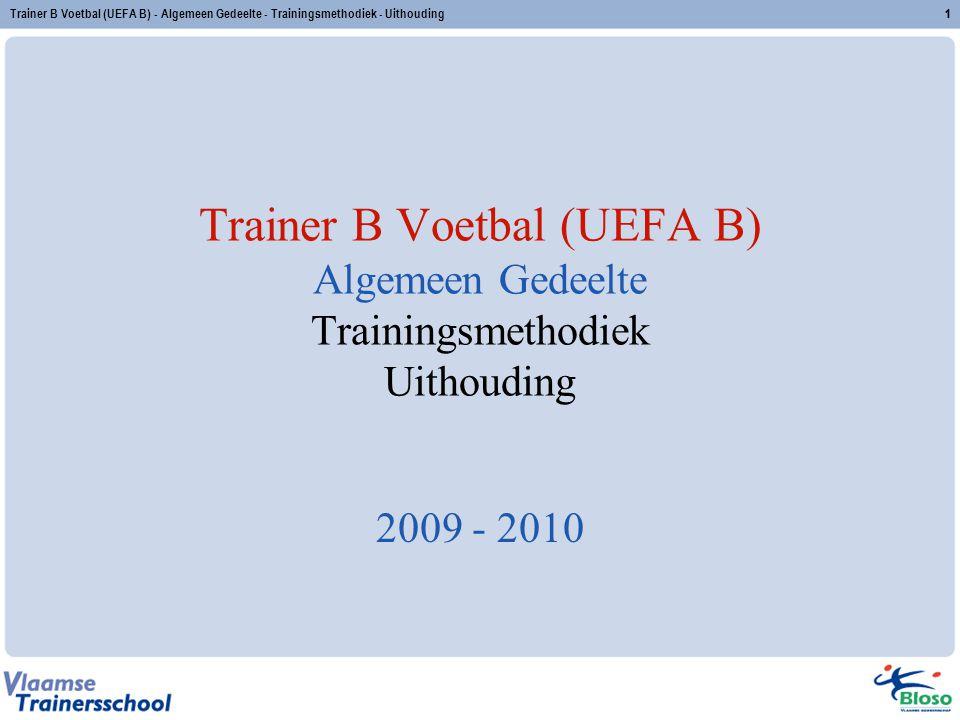 Trainer B Voetbal (UEFA B) - Algemeen Gedeelte - Trainingsmethodiek - Uithouding32 2.5 Oefenstof zone I – zone I – intensieve intervaltraining 1 vs 1 met kaatsers (tussenvorm) duur: 15 seconden intensiteit: 95-100% herhalingen: 4-8 series: 2-4 rust: 15 -30 tussen herhalingen 4'-6' tussen series inspanningsrooster: opbouw van 2 x (4 x 15 ) met 30 rust naar 5 x (8 x 15 ) met 15 rust X.X.