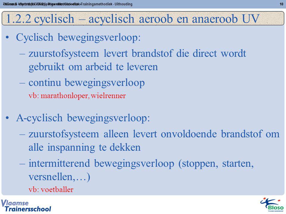 Trainer B Voetbal (UEFA B) - Algemeen Gedeelte - Trainingsmethodiek - Uithouding10 (A)-Cyclisch (an)aëroob UV Cyclisch bewegingsverloop: –zuurstofsyst
