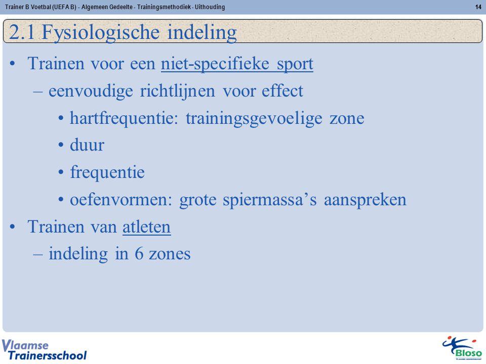 Trainer B Voetbal (UEFA B) - Algemeen Gedeelte - Trainingsmethodiek - Uithouding14 2.1 Fysiologische indeling Trainen voor een niet-specifieke sport –