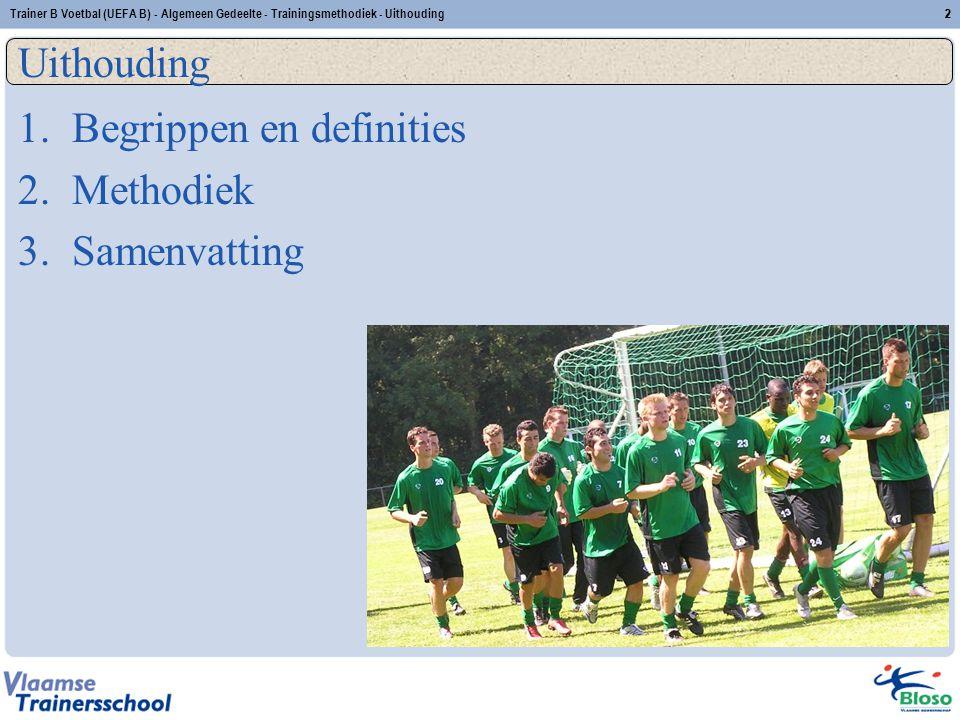 Trainer B Voetbal (UEFA B) - Algemeen Gedeelte - Trainingsmethodiek - Uithouding33 2.5 Oefenstof zone I – zone I – intensieve intervaltraining passvorm (tussenvorm) duur: 15 seconden intensiteit: 95-100% herhalingen: 4-8 series: 2-4 rust: 15 -30 tussen herhalingen 4'-6' tussen series inspanningsrooster: opbouw van 2 x (4 x 15 ) met 30 rust naar 5 x (8 x 15 ) met 15 rust D A.A.