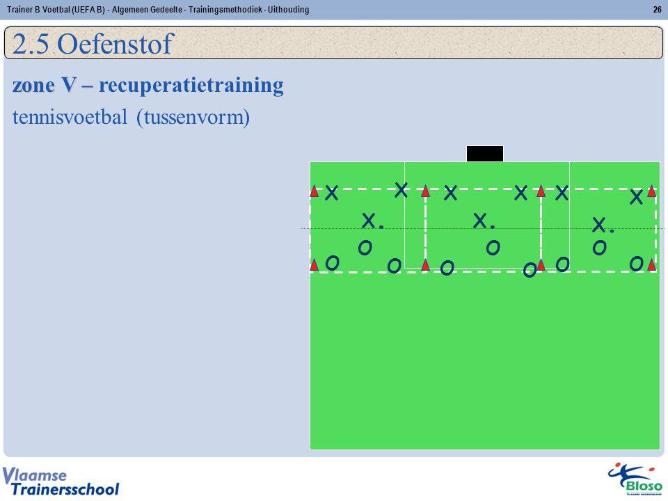 Trainer B Voetbal (UEFA B) - Algemeen Gedeelte - Trainingsmethodiek - Uithouding26 2.5 Oefenstof zone V – zone V – recuperatietraining tennisvoetbal (