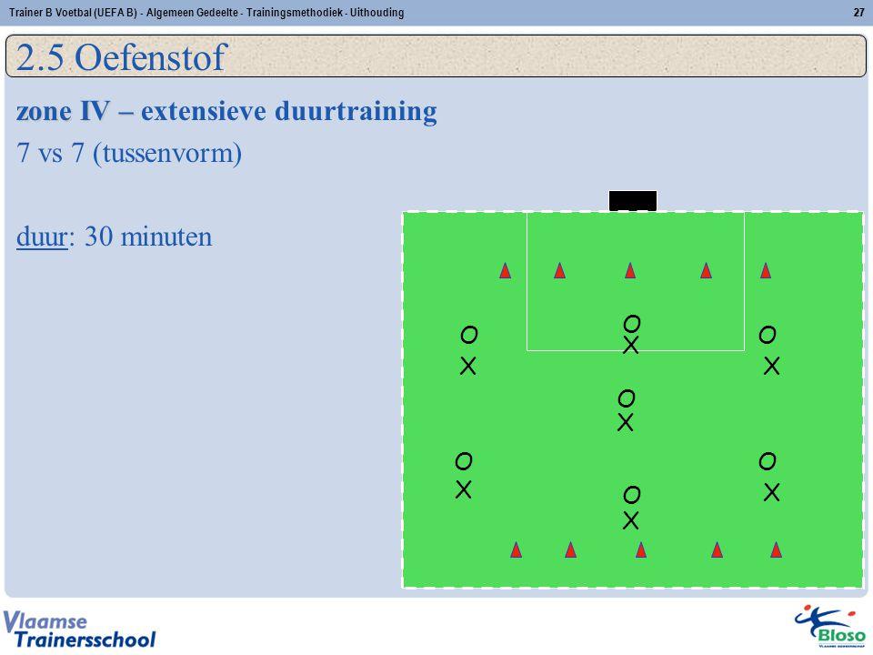 Trainer B Voetbal (UEFA B) - Algemeen Gedeelte - Trainingsmethodiek - Uithouding27 2.5 Oefenstof zone IV – zone IV – extensieve duurtraining 7 vs 7 (t