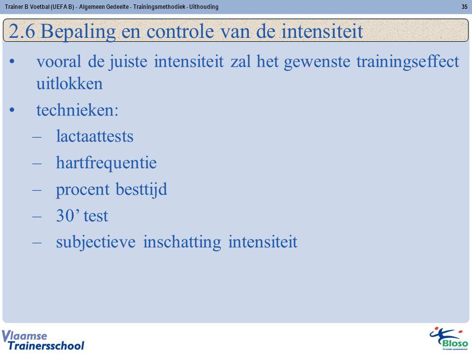 Trainer B Voetbal (UEFA B) - Algemeen Gedeelte - Trainingsmethodiek - Uithouding35 2.6 Bepaling en controle van de intensiteit vooral de juiste intens