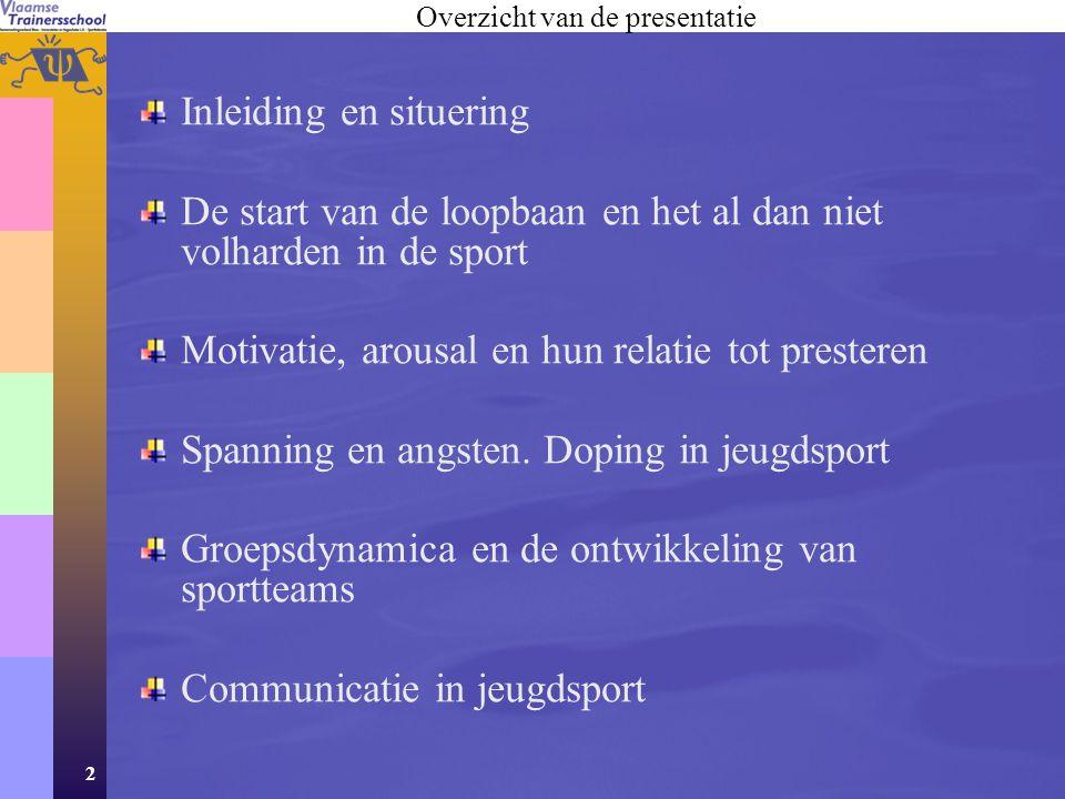 2 Inleiding en situering De start van de loopbaan en het al dan niet volharden in de sport Motivatie, arousal en hun relatie tot presteren Spanning en