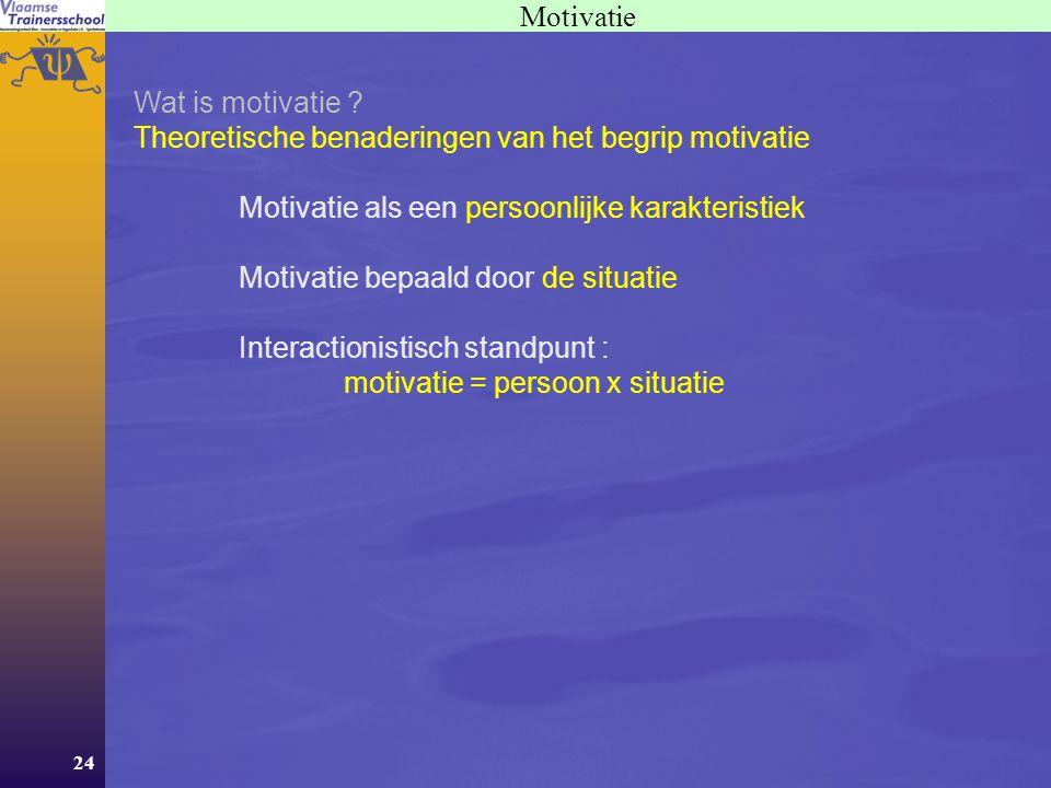 24 Motivatie Wat is motivatie ? Theoretische benaderingen van het begrip motivatie Motivatie als een persoonlijke karakteristiek Motivatie bepaald doo