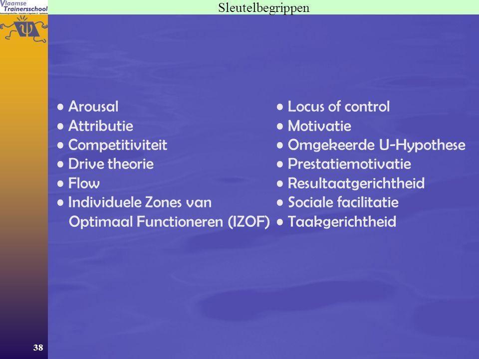 38 Sleutelbegrippen Arousal Attributie Competitiviteit Drive theorie Flow Individuele Zones van Optimaal Functioneren (IZOF) Locus of control Motivati