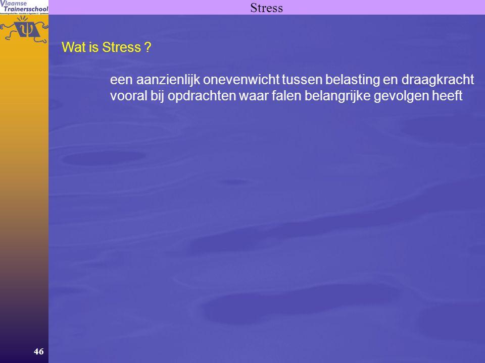 46 Stress Wat is Stress ? een aanzienlijk onevenwicht tussen belasting en draagkracht vooral bij opdrachten waar falen belangrijke gevolgen heeft