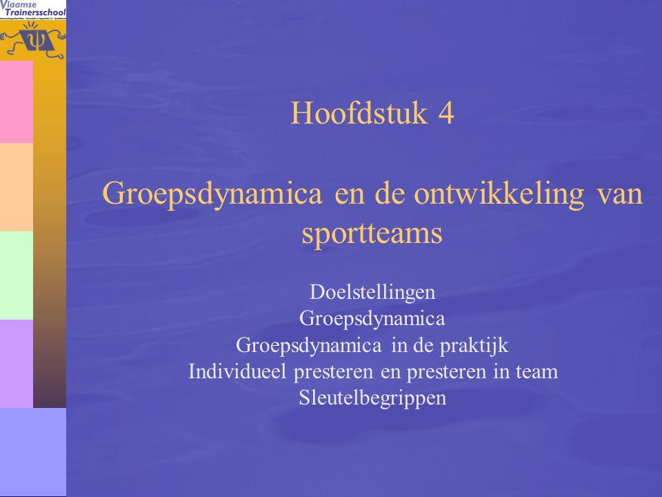 58 Hoofdstuk 4 Groepsdynamica en de ontwikkeling van sportteams Doelstellingen Groepsdynamica Groepsdynamica in de praktijk Individueel presteren en p