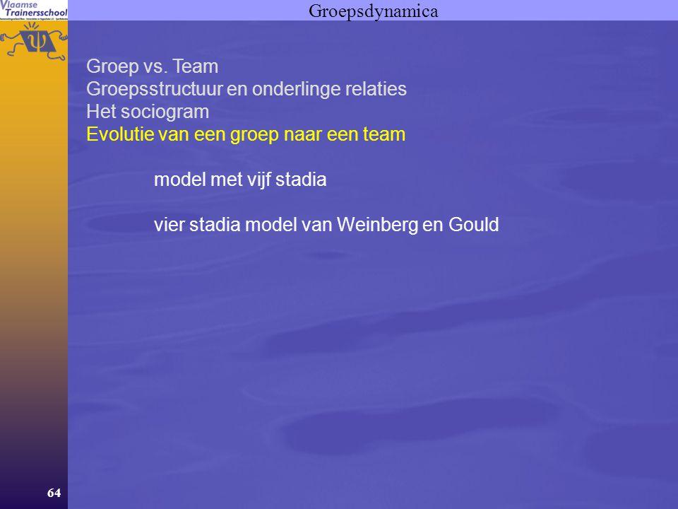 64 Groepsdynamica Groep vs. Team Groepsstructuur en onderlinge relaties Het sociogram Evolutie van een groep naar een team model met vijf stadia vier