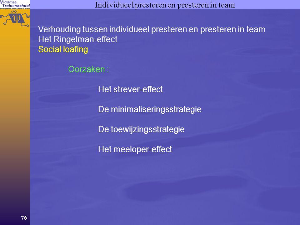76 Individueel presteren en presteren in team Verhouding tussen individueel presteren en presteren in team Het Ringelman-effect Social loafing Oorzake