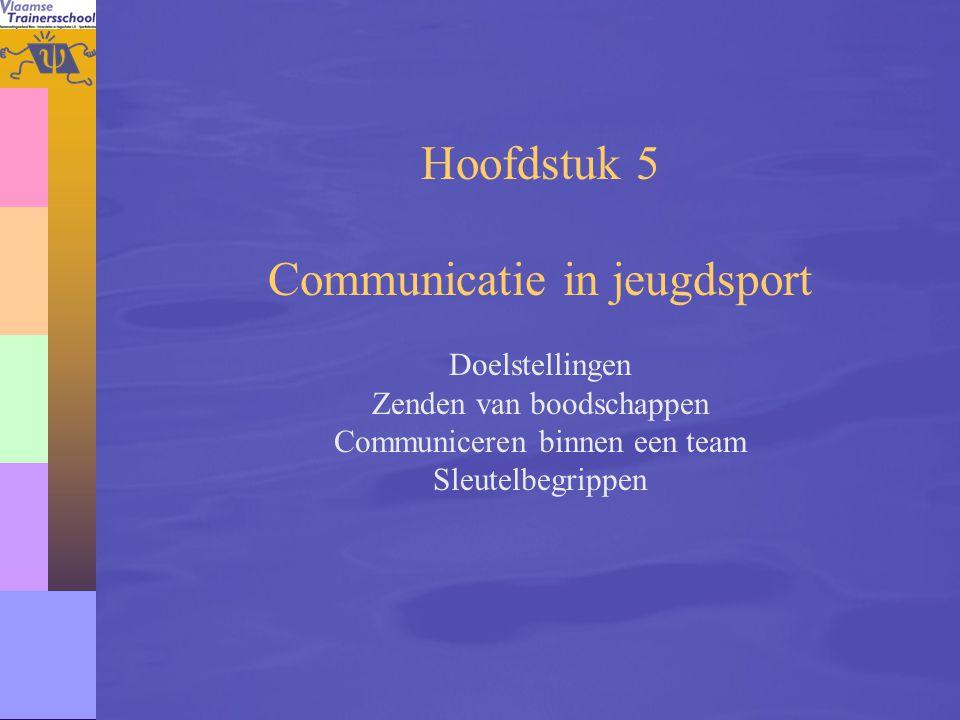 79 Hoofdstuk 5 Communicatie in jeugdsport Doelstellingen Zenden van boodschappen Communiceren binnen een team Sleutelbegrippen