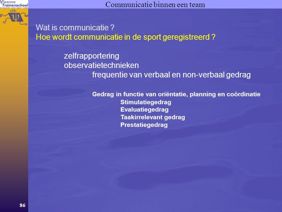 86 Communicatie binnen een team Wat is communicatie ? Hoe wordt communicatie in de sport geregistreerd ? zelfrapportering observatietechnieken frequen