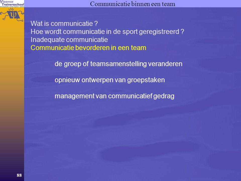 88 Communicatie binnen een team Wat is communicatie ? Hoe wordt communicatie in de sport geregistreerd ? Inadequate communicatie Communicatie bevorder