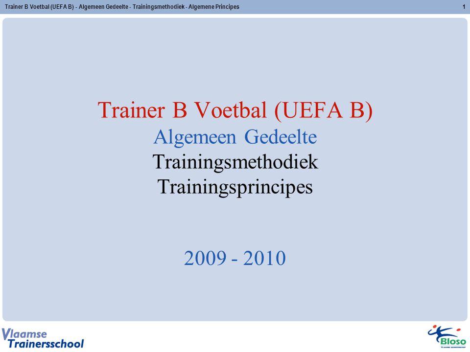 Trainer B Voetbal (UEFA B) - Algemeen Gedeelte - Trainingsmethodiek - Algemene Principes1 Trainer B Voetbal (UEFA B) Algemeen Gedeelte Trainingsmethod