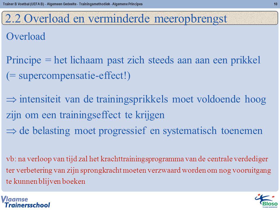 Trainer B Voetbal (UEFA B) - Algemeen Gedeelte - Trainingsmethodiek - Algemene Principes10 2.2 Overload en verminderde meeropbrengst Overload Principe