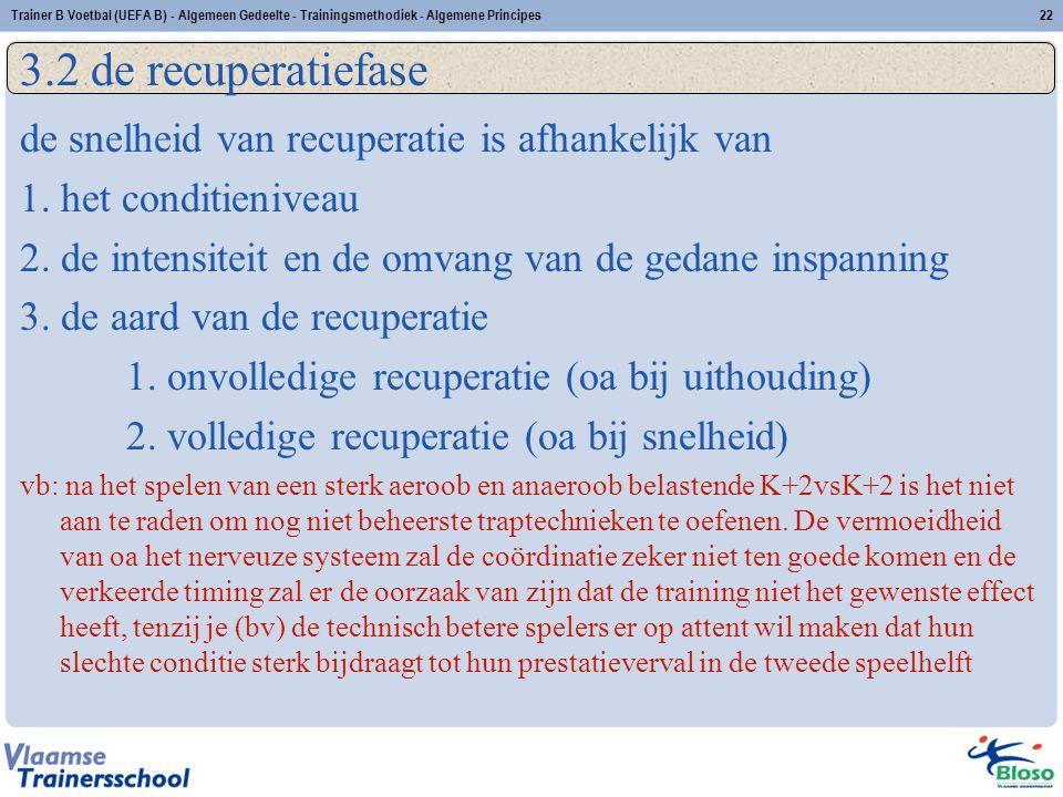 Trainer B Voetbal (UEFA B) - Algemeen Gedeelte - Trainingsmethodiek - Algemene Principes22 3.2 de recuperatiefase de snelheid van recuperatie is afhan