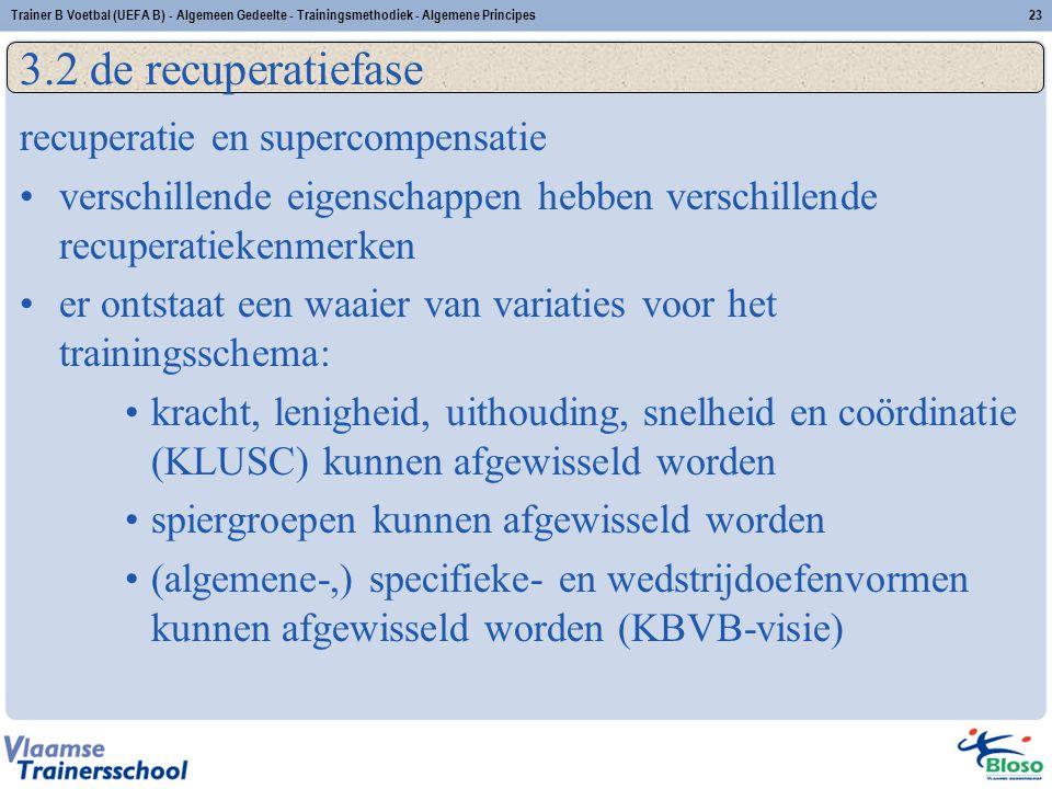 Trainer B Voetbal (UEFA B) - Algemeen Gedeelte - Trainingsmethodiek - Algemene Principes23 3.2 de recuperatiefase recuperatie en supercompensatie vers