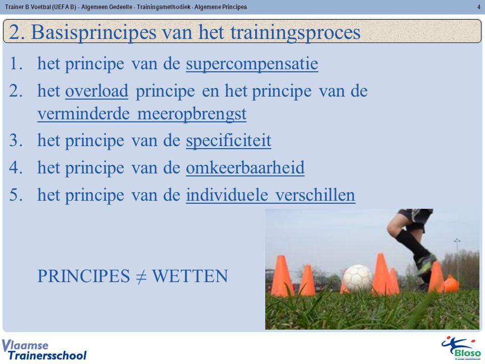 Trainer B Voetbal (UEFA B) - Algemeen Gedeelte - Trainingsmethodiek - Algemene Principes4 2. Basisprincipes van het trainingsproces 1.het principe van