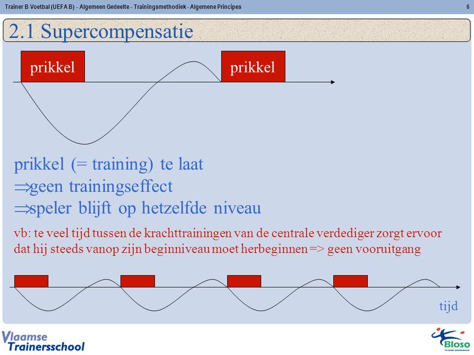Trainer B Voetbal (UEFA B) - Algemeen Gedeelte - Trainingsmethodiek - Algemene Principes6 2.1 Supercompensatie tijd prikkel prikkel (= training) te la