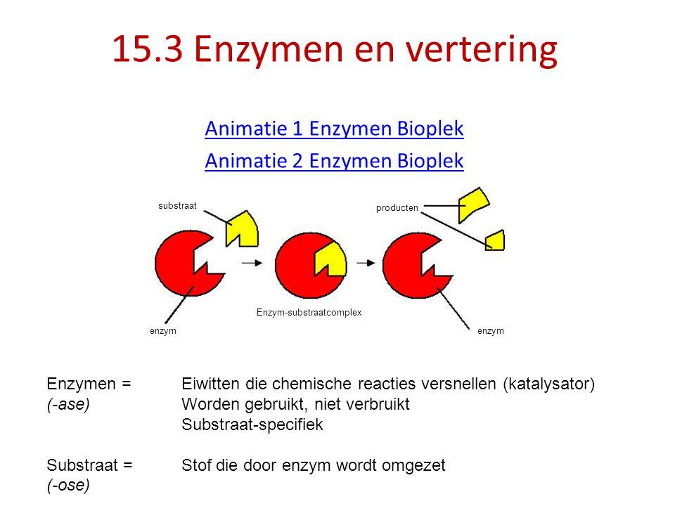 15.3 Enzymen en vertering Animatie 1 Enzymen Bioplek Animatie 2 Enzymen Bioplek substraat producten Enzym-substraatcomplex enzym Enzymen = Eiwitten di