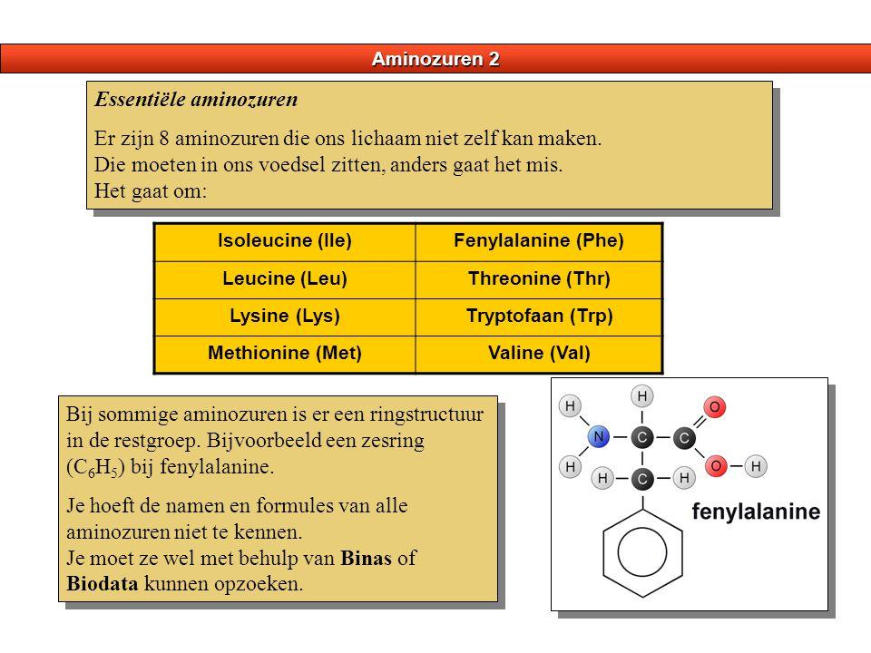 Aminozuren 2 Essentiële aminozuren Er zijn 8 aminozuren die ons lichaam niet zelf kan maken. Die moeten in ons voedsel zitten, anders gaat het mis. He