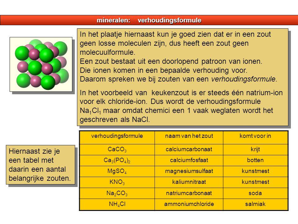 mineralen: verhoudingsformule Hiernaast zie je een tabel met daarin een aantal belangrijke zouten. verhoudingsformulenaam van het zoutkomt voor in CaC